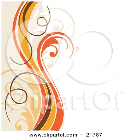 Vertical Orange, Yellow, Brown And Tan Vines And Waves Curling Vertically Over A White Background Posters, Art Prints