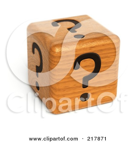 Royalty-Free (RF) Clipart Illustration of a 3d Wood Dice With Question Marks On Each Side by stockillustrations