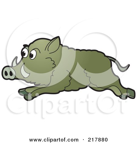 Royalty-Free (RF) Clipart Illustration of a Running Wild Boar by Lal Perera