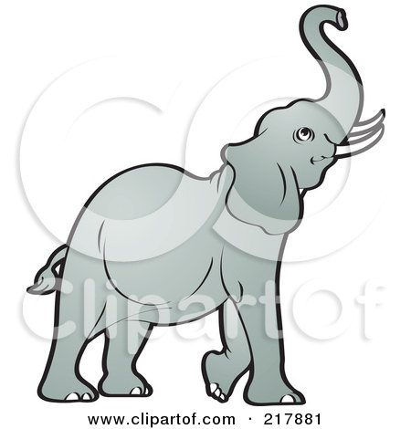 Royalty-Free (RF) Clipart Illustration of a Gray Elephant Raising His Trunk by Lal Perera
