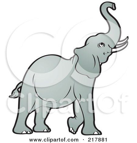 Royalty-Free (RF) Clipart Illustration of a Gray Elephant ...