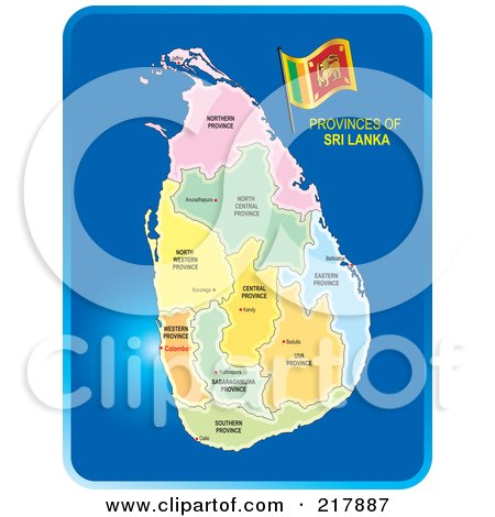 Royalty-Free (RF) Clipart Illustration of a Map Of Sri Lanka And Its Provinces On Blue by Lal Perera