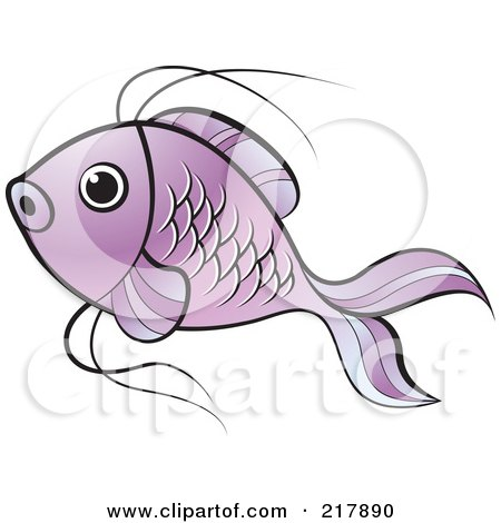 Royalty-Free (RF) Clipart Illustration of a Purple Koi Fish Swimming by Lal Perera