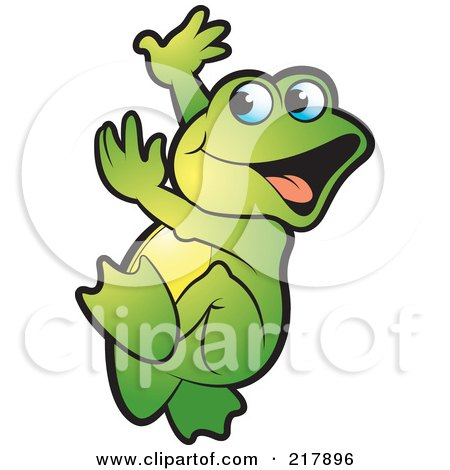 Royalty-Free (RF) Clipart Illustration of a Green Frog Doing A Happy Dance by Lal Perera