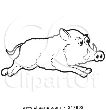 Royalty-Free (RF) Clipart Illustration of a Running Outlined Wild Boar by Lal Perera