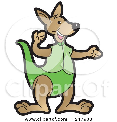 Royalty-Free (RF) Clipart Illustration of a Gesturing Kangaroo In Green by Lal Perera