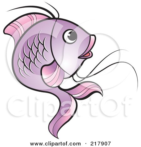 Royalty-Free (RF) Clipart Illustration of a Purple Koi Fish Turning by Lal Perera