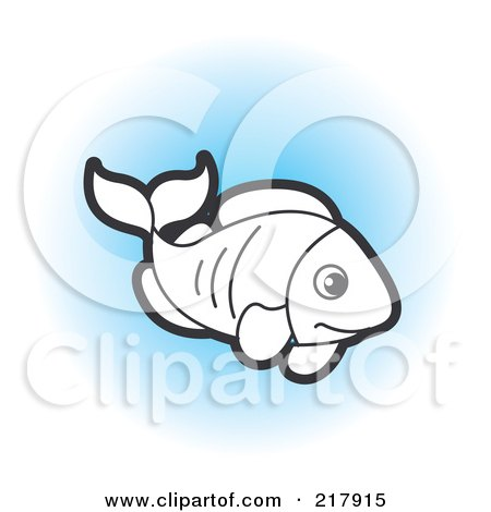 Royalty-Free (RF) Clipart Illustration of a Black And White Fish Swimming On Blue by Lal Perera