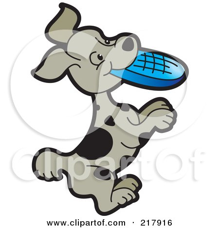 Royalty-Free (RF) Clipart Illustration of a Puppy Playing With A Flying Disc by Lal Perera