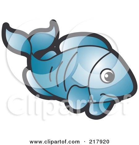Royalty-Free (RF) Clipart Illustration of a Blue Fish by Lal Perera