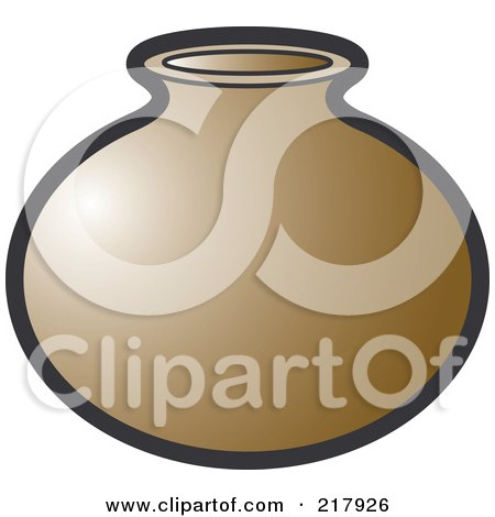 Royalty-Free (RF) Clipart Illustration of a Brown Pot by Lal Perera