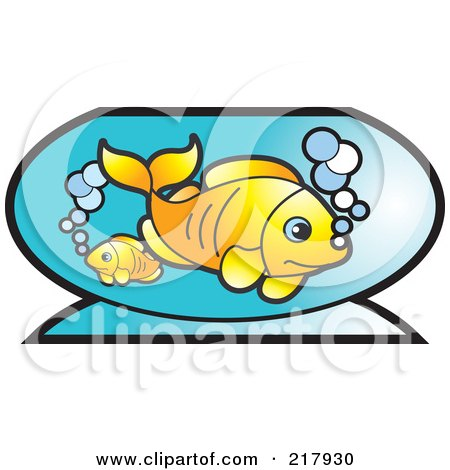 Royalty-Free (RF) Clipart Illustration of Goldfish In A Bowl by Lal Perera