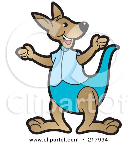 Royalty-Free (RF) Clipart Illustration of a Gesturing Kangaroo In Blue by Lal Perera