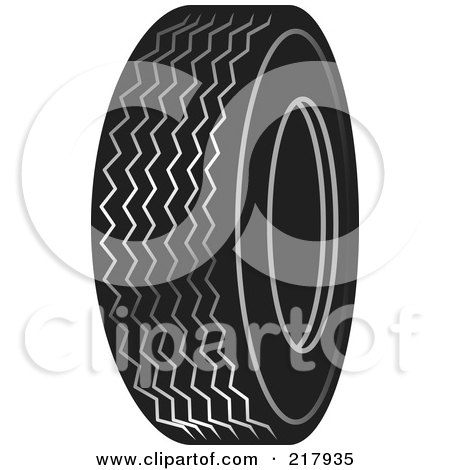 Royalty-Free (RF) Clipart Illustration of a Single Black And White Auto Tire by Lal Perera
