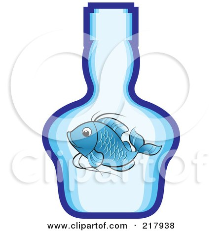 Royalty-Free (RF) Clipart Illustration of a Blue Koi Fish In A Bottle by Lal Perera