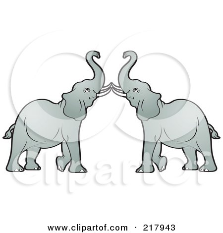 Royalty-Free (RF) Clipart Illustration of a Gray Elephant Pair by Lal Perera