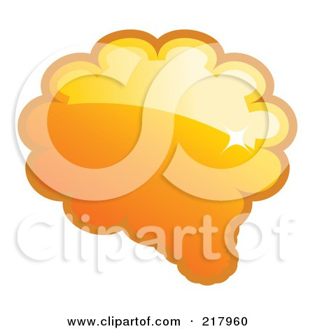 Royalty-Free (RF) Clipart Illustration of a Shiny Orange Word, Chat Or Speech Balloon Icon by KJ Pargeter