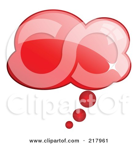 Royalty-Free (RF) Clipart Illustration of a Shiny Red Cloud Word, Chat Or Speech Balloon Icon by KJ Pargeter