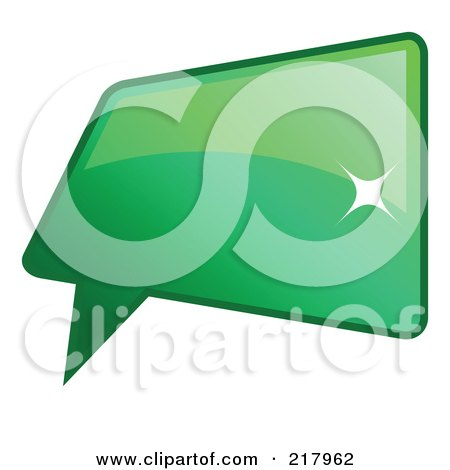 Royalty-Free (RF) Clipart Illustration of a Shiny Green Square Word, Chat Or Speech Balloon Icon by KJ Pargeter