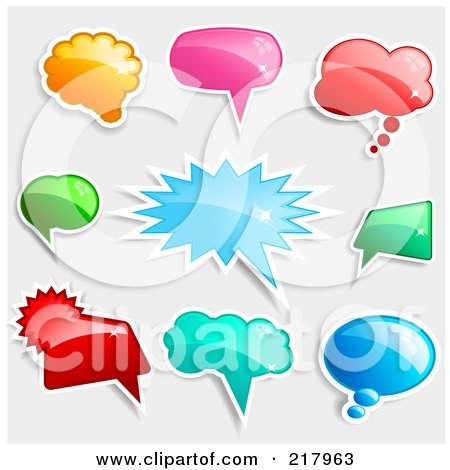 Royalty-Free (RF) Clipart Illustration of a Digital Collage Of Shiny Colorful Word, Chat And Speech Balloon Icons by KJ Pargeter
