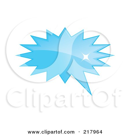 Royalty-Free (RF) Clipart Illustration of a Shiny Blue Burst Word, Chat Or Speech Balloon Icon by KJ Pargeter