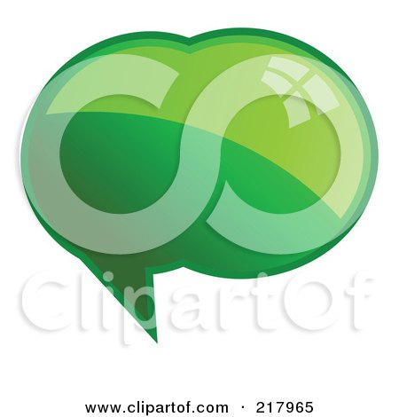 Royalty-Free (RF) Clipart Illustration of a Shiny Green Word, Chat Or Speech Balloon Icon by KJ Pargeter
