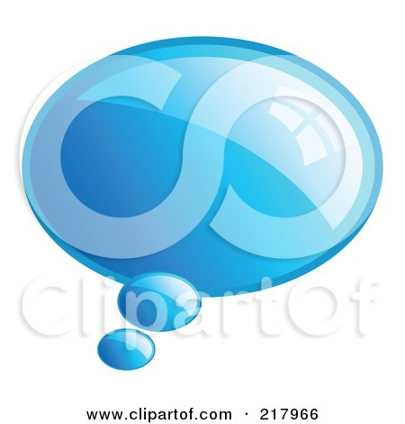 Royalty-Free (RF) Clipart Illustration of a Shiny Blue Word, Chat Or Speech Balloon Icon by KJ Pargeter