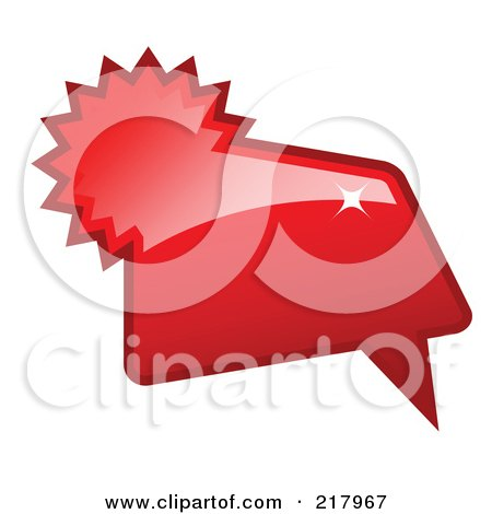 Royalty-Free (RF) Clipart Illustration of a Shiny Red Word, Chat Or Speech Balloon Icon by KJ Pargeter
