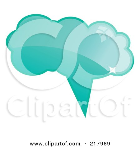 Royalty-Free (RF) Clipart Illustration of a Shiny Turquoise Word, Chat Or Speech Balloon Icon by KJ Pargeter