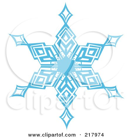 Royalty-Free (RF) Clipart Illustration of a Beautiful Ornate Blue Icy Snowflake Design Element - 4 by KJ Pargeter