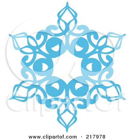 Royalty-Free (RF) Clipart Illustration of a Beautiful Ornate Blue Icy Snowflake Design Element - 6 by KJ Pargeter
