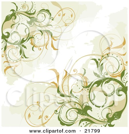 Clipart Picture Illustration of Green Elegant Vines With ...
