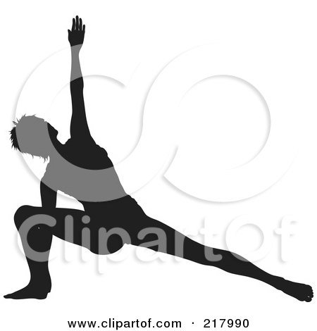 Royalty-Free (RF) Clipart Illustration of a Black Silhouetted Woman Doing A Yoga Pose, Lunging With One Arm Up by KJ Pargeter