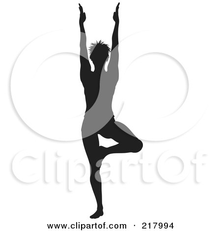 Royalty-Free (RF) Clipart Illustration of a Black Silhouetted Woman Doing A Yoga Pose, Her Arms Above Her Head by KJ Pargeter