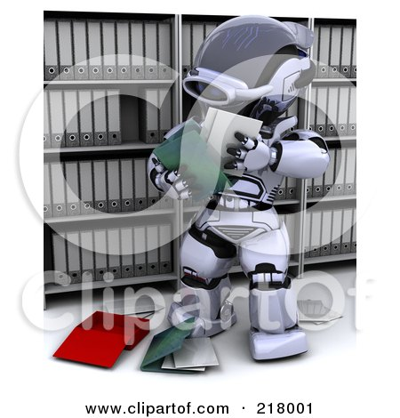 Royalty-Free (RF) Clipart Illustration of a 3d Robot Reading Files In Archives by KJ Pargeter
