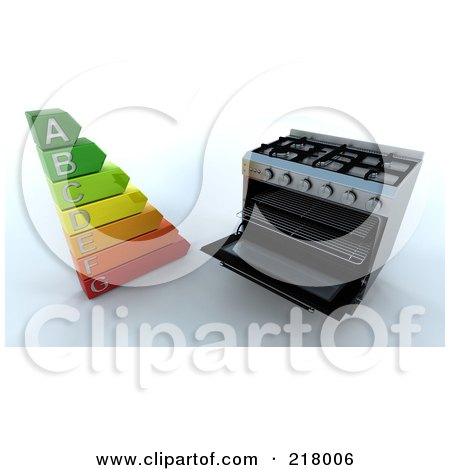 Royalty-Free (RF) Clipart Illustration of a 3d Range Oven With An Energy Rating Guide by KJ Pargeter