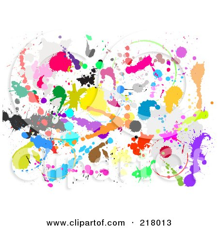 Royalty-Free (RF) Clipart Illustration of a Background Of Colorful Paint Splatters On White by KJ Pargeter