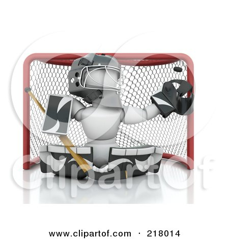 Royalty-Free (RF) Clipart Illustration of a 3d White Character Ice Hockey Netminder by KJ Pargeter