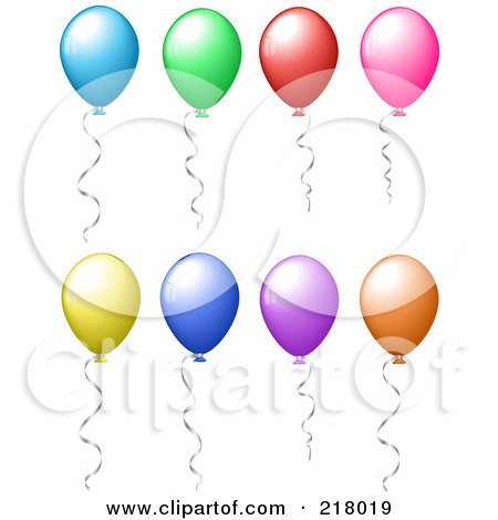 Royalty-Free (RF) Clipart Illustration of a Digital Collage Of Shiny Party Balloons Floating With Helium, Silver Ribbons Attached by KJ Pargeter