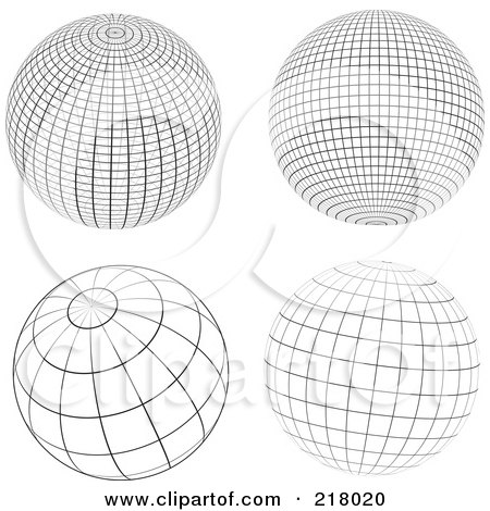 Royalty-Free (RF) Clipart Illustration of a Digital Collage Of Black And White Wire Frame Sphere Design Elements by KJ Pargeter