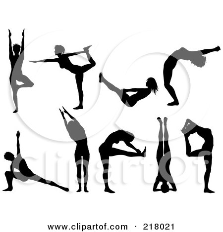 Royalty-Free (RF) Clipart Illustration of a Digital Collage Of Black Silhouetted Women Doing Yoga Poses by KJ Pargeter