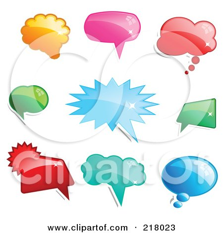 Royalty-Free (RF) Clipart Illustration of a Digital Collage Of Shiny Colorful Word, Chat Or Speech Balloon Icons by KJ Pargeter