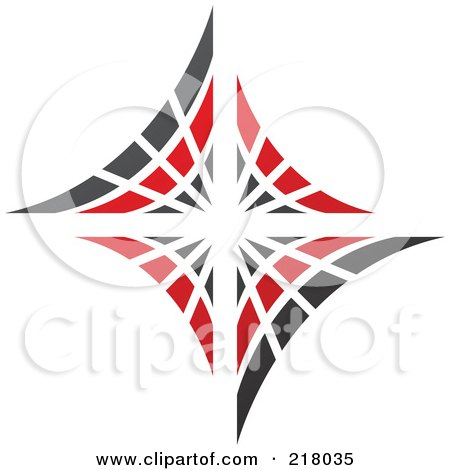 Royalty-Free (RF) Clipart Illustration of an Abstract Red And Black Diamond Or Web Logo Icon by cidepix