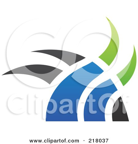 Royalty-Free (RF) Clipart Illustration of an Abstract Blue, Green And Black Swoosh Logo Icon - 2 by cidepix