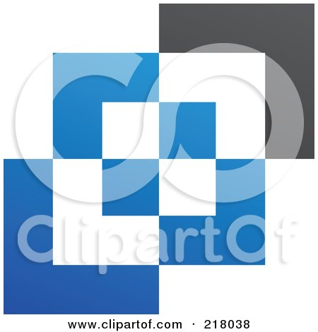 Royalty-Free (RF) Clipart Illustration of an Abstract Blue, White And Black Cubic Logo Icon Background by cidepix