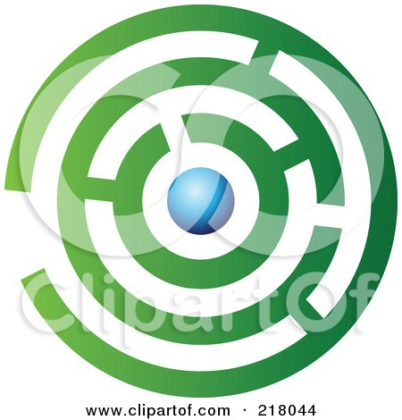 Royalty-Free (RF) Clipart Illustration of an Abstract Green And Blue Maze Logo Icon Design by cidepix