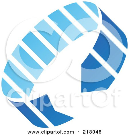 Royalty-Free (RF) Clipart Illustration of an Abstract Blue Circle Arrow Logo Icon by cidepix