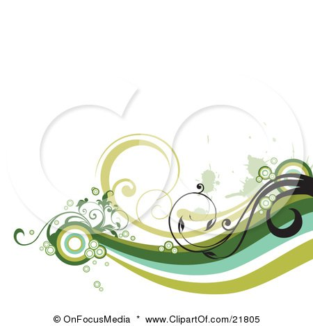 Green, Blue And White Waves With Black Vines And Circles Brancing Off From A Circle On A White Background Posters, Art Prints