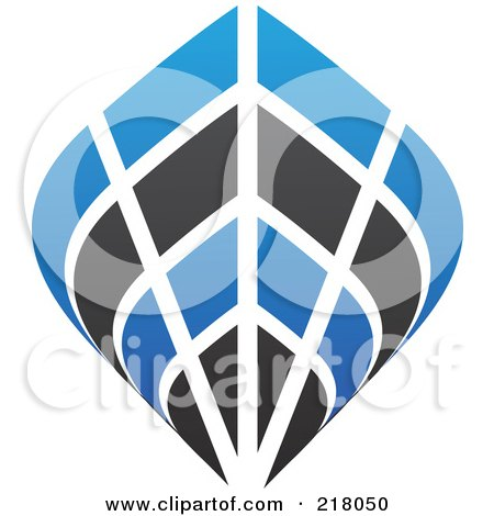 Royalty-Free (RF) Clipart Illustration of an Abstract Blue And Black Ship Logo Icon by cidepix