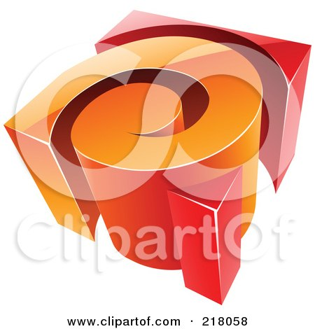 royalty free rf clipart illustration of an abstract 3d orange and